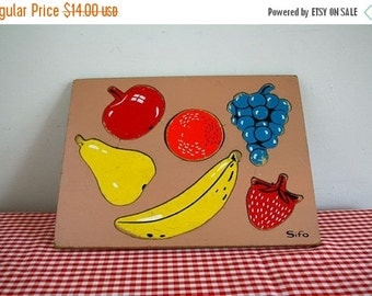 40% off SALE vintage 50s FRUIT sifo wooden board puzzle