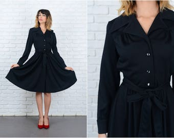 Vintage 70s Black Mod Dress Shirt Dress Shirtdress A line long slv Small S 9241
