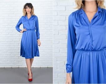 Vintage 70s 80s Dress Blue Shirtdress Shirt Dress Long Sleeve knee length Small 9249
