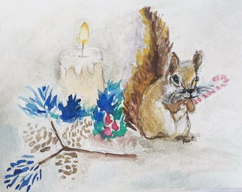 Candy Squirrel Matted Print