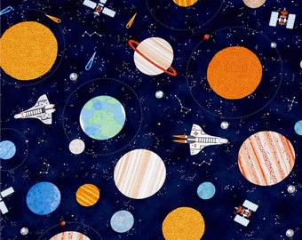 Planets and Spaceships on Navy from Timeless Treasures