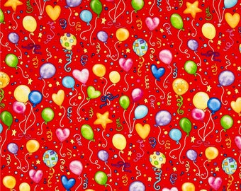Party Balloons on Red from Henry Glass Fabric's Let's Celebrate Collection