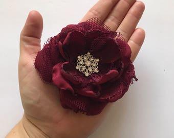Wine Red Hair Flower - Lace Flower, Hair Clip, Flower Clip, Bow, Bridesmaid Hair, Flowergirl, Fabric Flower, Hair Flower, Merlot, Marsalas