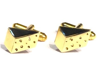 SALE Cheese Cufflinks, Men's Handcrafted Wedge of Golden Swiss Cuff Links- Guys Prom Groom Wedding Chef Mans Fromage Food Gift