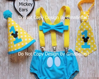 Mickey Mouse Birthday outfit cake smash hat invitation photo blue baby suspenders I am One tie OR Bowtie diaper cover 9 12 18 24 toddler