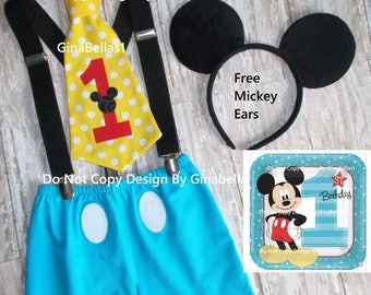 Mickey Mouse Birthday outfit cake smash costume suspenders tie baby FREE Ears clubhouse red Black Blue SHORTS 12 18 24 2T toddler