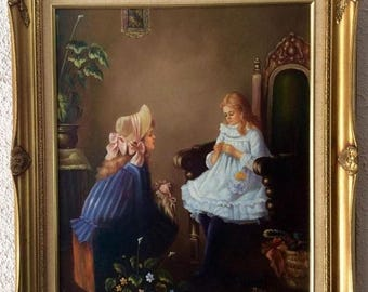 Sale Antique Vintage Oil Painting Portrait of Two English Girls O/C Art Signed Framed Home Decor