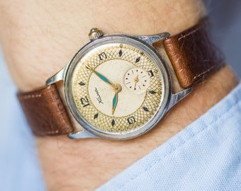Limited edition men watch KAMA, ethnic ornament watch him, Arabesque style wristwatch, USSR men watch shockproof, new premium leather strap