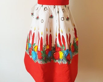 Vintage Red Holiday Kitchen Apron Christmas Apron Half Apron Holiday Kitchen Apron Red Blue Ornaments Candles Midcentury Cotton Apron