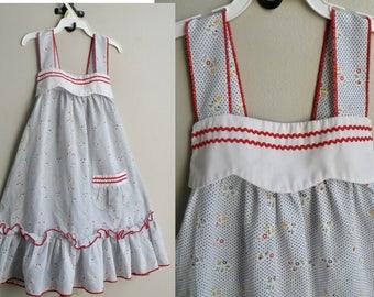 70s Cotton Baby Toddler Prairie Sun Dress - 2-3 y