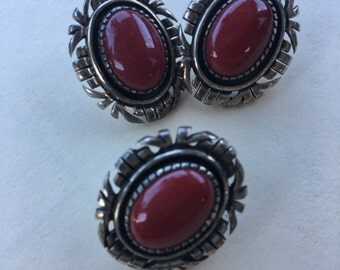 Vintage Sterling J.R Silversmiths Pierced Earrings with Matching Pendant Red Stone