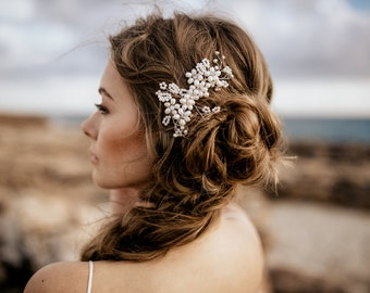 "Wedding Hair Accessory, Beaded Headband, Bridal Headband, Crystal Halo, Boho Bridal Crown ""Mara"""