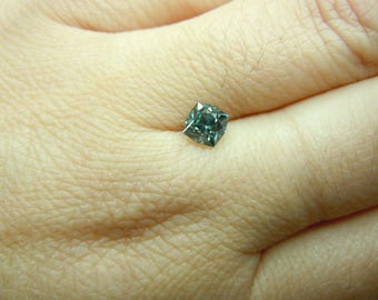 Genuine Montana Sapphire Square Brilliant 1.01 carat Silvery Blue with a Touch of Green Loose Gemstone for Engagement or Other Jewelry