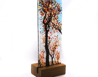 Fused Glass Autumn Tree Design in wood stand 21cm x 8cm