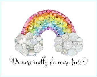 Rainbow Wall Art PRINT Nursery Rainbow Decoration Gender Neutral Nursery Colorful Nursery Decor Rainbow Pastel Rainbows Button Art