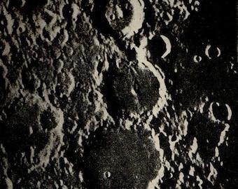 1900 SURFACE Of The MOON 71, Arzachel, Alphonsus, Ptolemy, Albategnius, Original Vintage Space Astronomy Print
