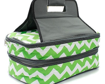 Monogrammed Casserole Carrier - Lime Green & White Chevron Pattern - Tailgate Bag - Shower Gift - Wedding Gift - Personalized Gift