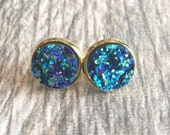 Blue Druzy Earrings,  Resin Druzy Earrings, Gemstone Earrings, Druzy Stud Earrings, Gold Druzy Jewelry
