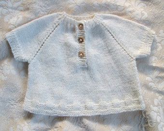 Baby Sweater Hand Knit Ivory Cotton Linen 6M to 12M Toddler