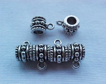 Pewter Bali Style Spacer Bead - Charm Hangers Set of 10