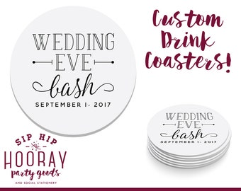 Rehearsal Dinner Favor, Rehearsal Dinner Coaster, Wedding Eve, The Night Before Party, Bar Coaster, Custom Wedding Favors, Coaster, 1676