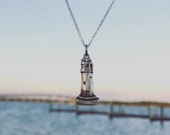 Lighthouse Pendant - Fine Silver - Handmade Jewelry - Wax Seal Charm