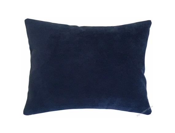 Navy Blue Decorative Bed Pillows: Navy Blue Velvet Suede Decorative Throw Pillow Cover / Pillow