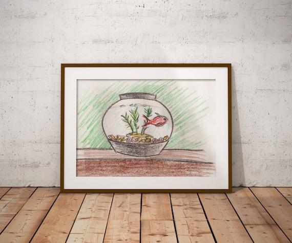 Goldfish in Black Fish Bowl PDF - Crayon Drawing - 8x10 - Crayon Art Print - Kid's Room Art - Baby's Room Art