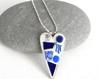 Mosaic HEART Pendant - Blue Willow China - Jewelry Necklace - Stained Glass and Tiny Round Glass Tiles