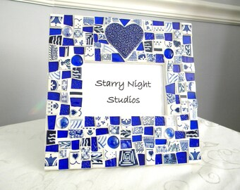 Broken China Mosaic Frame - China Pieces - Cobalt Blue Stained Glass - Glass Gems
