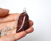 Bloodstone Necklace, Cord and Stone Necklace, Red Bloodstone, Tumbled Bloodstone, Healing Stone Necklace, Valentines Day Gift, Unisex Stone