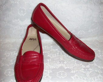 Vintage Ladies Red Leather Loafers Slip Ons by SAS Size 7 S Only 7 USD