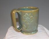 Coffee Mug - flowers - seafoam green - pottery and ceramics - clearance sale