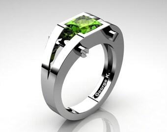 Modern 14K White Gold 1.25 Ct Princess Peridot Ring R394-14KWGPE