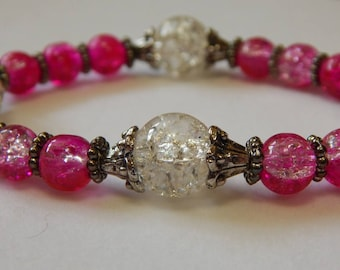 Pink and Clear Crackled Glass Beaded Stretch Bracelet, 7 inches