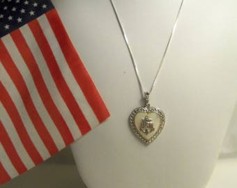"Stunning Women's Vintage U.S. NAVY ""USN"" Sterling Silver 925 Heart w/ MOP, Marcasite & Sterling 925 Box Chain- Birthday Her Mom Mother Teen"