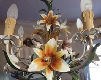 Antique French toleware tole chandelier lamp flowers BIG tole lighting ceiling light fixture romantic cottage chic French boudoir light