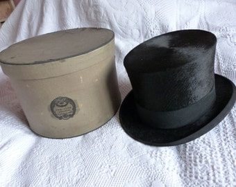 Antique German beaver top hat Gibus w traveling hat box black opera steampunk top hat antique victorian mens top hat w stamp luggage hatbox