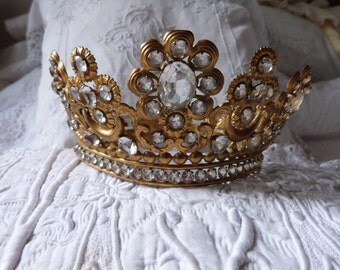 LARGE Antique French jeweled crown rhinestone tiara religious crown virgin statue crown 1800s rhine stone and bronze princess crown tiara