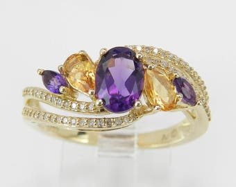 14K Yellow Gold Diamond Citrine Amethyst Engagement Cocktail Ring Size 7