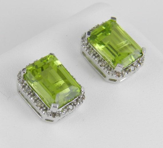 3.15 ct Peridot Diamond Stud Earrings Halo Studs White Gold August Birthstone