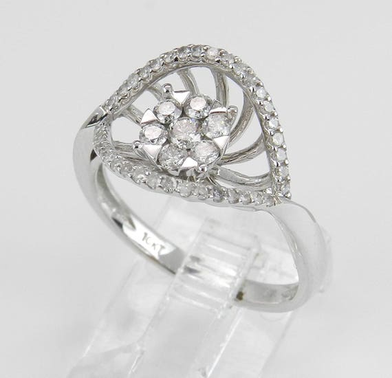 Diamond Cluster Promise Ring set in White Gold Unique Design Right Hand Ring Size 7