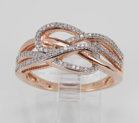Rose Gold Diamond Cocktail Ring Anniversary Crossover Band Love Knot Size 7