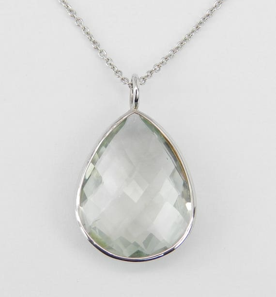 "14K White Gold 16 ct Pear Green Amethyst Solitaire Pendant Necklace 18"" Chain"