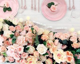 "SAMPLE SALE: Blush Pink Flower Table Runner - Rose Flower Garland - 23"" x 144"""