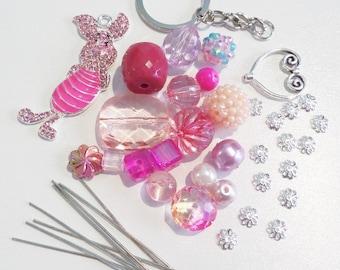 Sale! Piglet Inspired Bead Kit.  (K7)  Piglet Inspired Pendant included