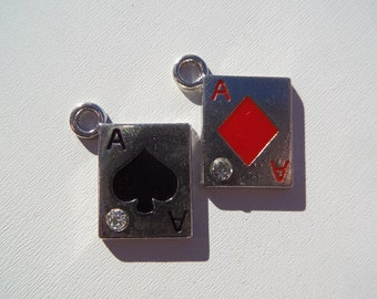 21mm. 4CT. Playing Card Aces, Silver Toned Charms, (Y40)