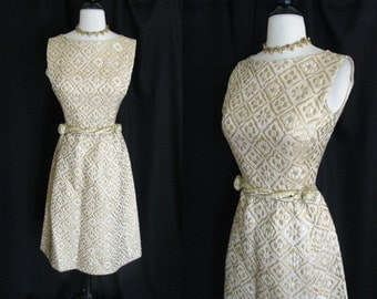 Vintage 1950s 60s Suzy Perette NY Gold Metallic Brocade Mad Men Wiggle Dress