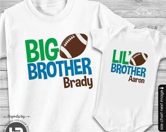 Football Big Brother Shirt & Football Little Brother Shirt - 2 Personalized Football Shirts - Baby Shower gift - gender reveal idea