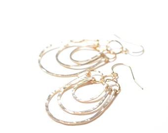 14k Gold Filled Triple Hoop Earrings